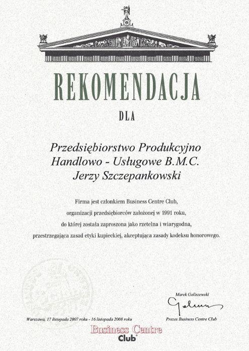 Rekomendacja BCC dla BMC Władysławowo