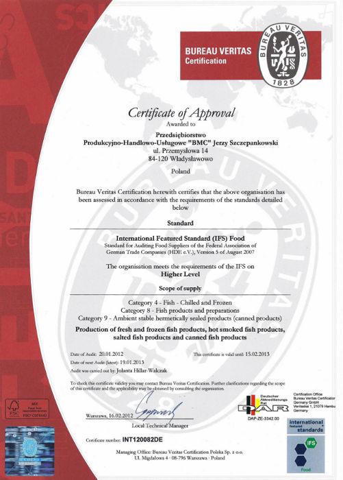 Certyfikat IFS dla BMC Władysławowo